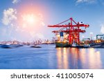 industrial container freight... | Shutterstock . vector #411005074