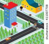 isometric residential view... | Shutterstock .eps vector #411007708