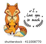 cute vector card with mother... | Shutterstock .eps vector #411008770