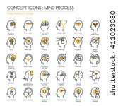 mind process   thin line and... | Shutterstock .eps vector #411023080