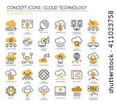 cloud technology   thin line... | Shutterstock .eps vector #411023758