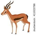 antelope with sharp horns... | Shutterstock .eps vector #411023788