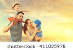 happy family of father  mother... | Shutterstock . vector #411025978