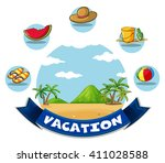 vacation banner with beach and... | Shutterstock .eps vector #411028588