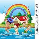 children swimming in the sea... | Shutterstock .eps vector #411028594