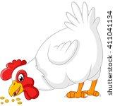 cartoon chicken eating seeds | Shutterstock .eps vector #411041134