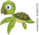 cartoon baby turtle swimming | Shutterstock .eps vector #411041170