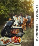 dinner party  barbecue and... | Shutterstock . vector #411046756