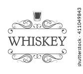whiskey  drinking glass ... | Shutterstock .eps vector #411049843
