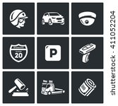 set of road patrol police icons.... | Shutterstock . vector #411052204