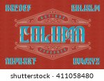 vintage font with geometric... | Shutterstock .eps vector #411058480