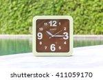 clock on concrete floor at 10... | Shutterstock . vector #411059170