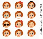 girl emotions  face set.... | Shutterstock .eps vector #411059704