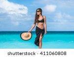 Elegant Beach Woman In Bikini...