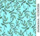 seamless pattern with branches...   Shutterstock .eps vector #411065386