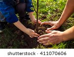 little boy helping his father... | Shutterstock . vector #411070606