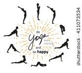 vector illustration of yoga... | Shutterstock .eps vector #411073534