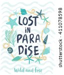 summer lost in paradise hand... | Shutterstock .eps vector #411078598