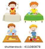 boys eating at dining table... | Shutterstock .eps vector #411080878