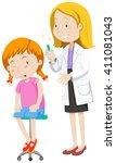 doctor healing little girl...   Shutterstock .eps vector #411081043