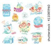 set of hand drawn watercolor... | Shutterstock .eps vector #411085960