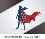 superhero woman standing using...   Shutterstock .eps vector #411087364