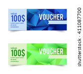 a set of gift cards  discount ... | Shutterstock .eps vector #411087700