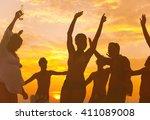 summer beach party freedom... | Shutterstock . vector #411089008