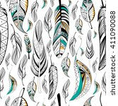 tribal boho style feather on... | Shutterstock .eps vector #411090088