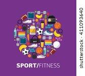 sports equipment background... | Shutterstock .eps vector #411093640