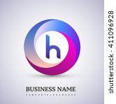 h letter colorful logo in the... | Shutterstock .eps vector #411096928