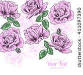 vector pink roses flowers... | Shutterstock .eps vector #411097390