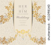 wedding invitation or card with ... | Shutterstock .eps vector #411098140