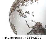 middle east region on metallic... | Shutterstock . vector #411102190