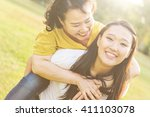 daughter mother adorable... | Shutterstock . vector #411103078