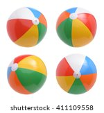 beach balls set isolated on... | Shutterstock . vector #411109558