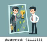 businessman standing in front... | Shutterstock .eps vector #411111853
