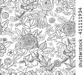 seamless pattern with hand... | Shutterstock .eps vector #411111934