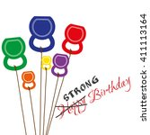 vector birthday card with... | Shutterstock .eps vector #411113164