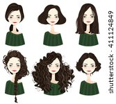 set of six cute brunette girl... | Shutterstock .eps vector #411124849