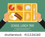 hand holding a school lunch...