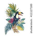 vector illustration tropical... | Shutterstock .eps vector #411127183
