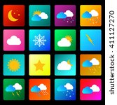 weather vector icon set white... | Shutterstock .eps vector #411127270