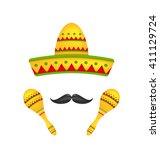 illustration mexican symbols...   Shutterstock . vector #411129724
