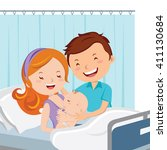 maternity ward. happy parent... | Shutterstock .eps vector #411130684