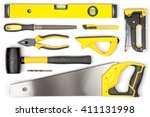 Set Of Carpentry Tools On Whit...