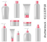 vector cosmetic packaging icons | Shutterstock .eps vector #411133918