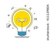 idea vector liner design. bulb... | Shutterstock .eps vector #411139804
