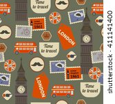 retro british seamless pattern... | Shutterstock .eps vector #411141400