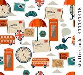white british seamless pattern... | Shutterstock .eps vector #411141418